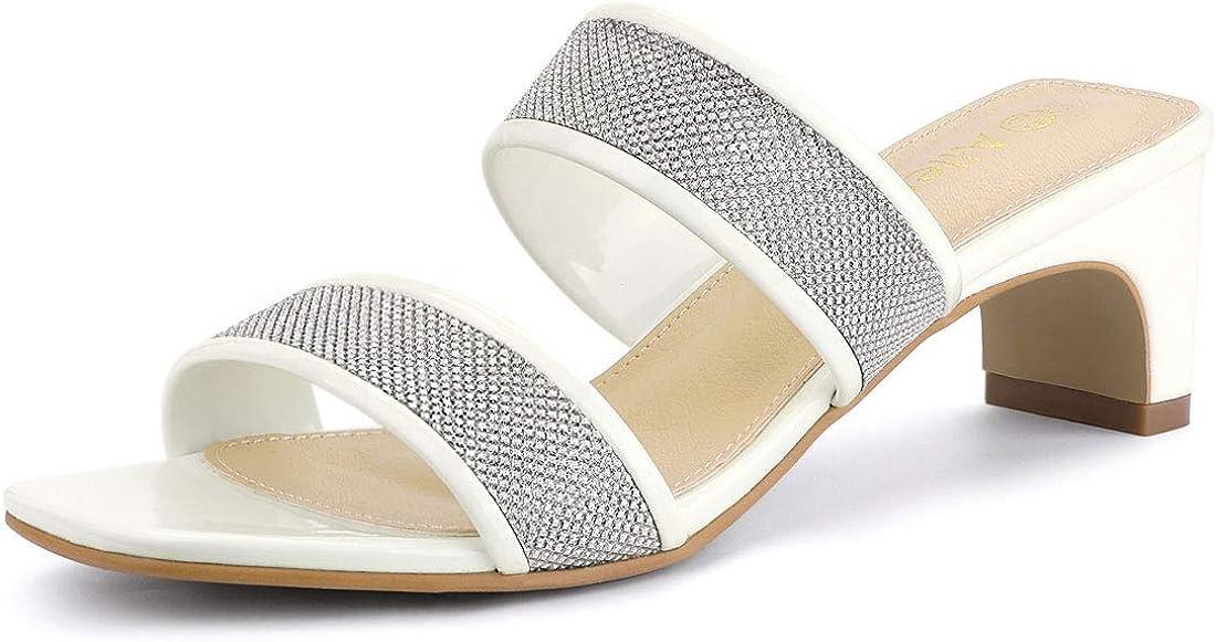 Allegra Reservation K New Shipping Free Women's Rhinestone Square Block Sandals Heel Slide Toe
