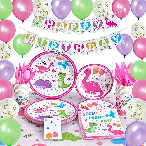 WERNNSAI Dinosaur Party Supplies - Birthday Party Decorations for Girls Birthday Banner Balloons Tablecloth Plates Cups Napkins Tableware Utensils Serves 16 Guests 153 PCS