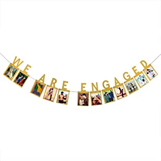 INNORU We are Engaged Photo Banner - Gold Engagement Bunting for Weddings Party Decorations Supplies