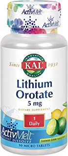 KAL Lithium Orotate ActivMelt 5mg | Low Serving Of Chelated Lithium Orotate For Bioavailability & Balanced Mood Support | ...