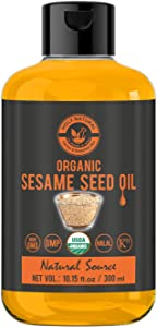 Organic Sesame Seed Oil(10.15 fl oz)USDA Certified, Extra Virgin Cold-Pressed, 100% Pure & Natural, No GMO,Untreated and Unrefined Sesame Seed Oil -Grate for Cooking & Flavor Enhancer in Many Cuisines
