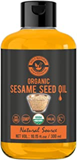 Organic Sesame Seed Oil(10.15 fl oz)USDA Certified, Extra Virgin Cold-Pressed, 100% Pure & Natural, No GMO,Untreated and U...