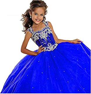 Leho Flower Girls' Sequins Ball Gowns Beaded Long Pageant Dresses