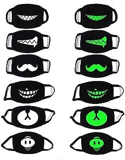PROACC 6 PCS Algodón Máscara de polilla, Luminoso Unisexo Anti Polvo Viento Cara Máscara, Brillo en la oscuridad para Al aire libre Ciclismo Víspera de Todos los Santos Cosplay Fiesta Guay