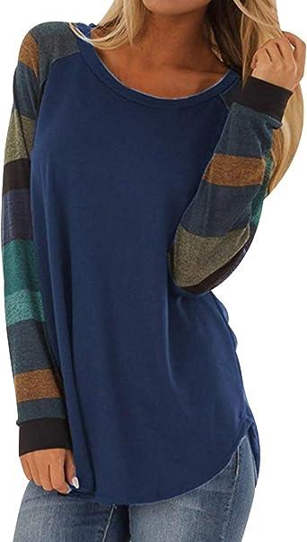Camisetas Manga Larga Mujer Oversize Largas Camiseta Rayas Basica Tops Tunica Playeras Anchas Jersey Camisa Blusa Túnica Tunicas Poleras Camisas ...