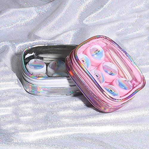 SinPinEra Contact Lens Case Kit for Travel & Home - 3 pcs Lens Holder + Bottle + Stick Connection + Tweezers + Laser Bag(Silver)