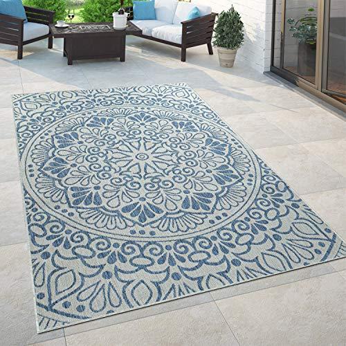 Paco Home In- & Outdoor-Teppich, Für Balkon Und Terrasse Mit Orient-Muster, In Blau, Grösse:80x150 cm