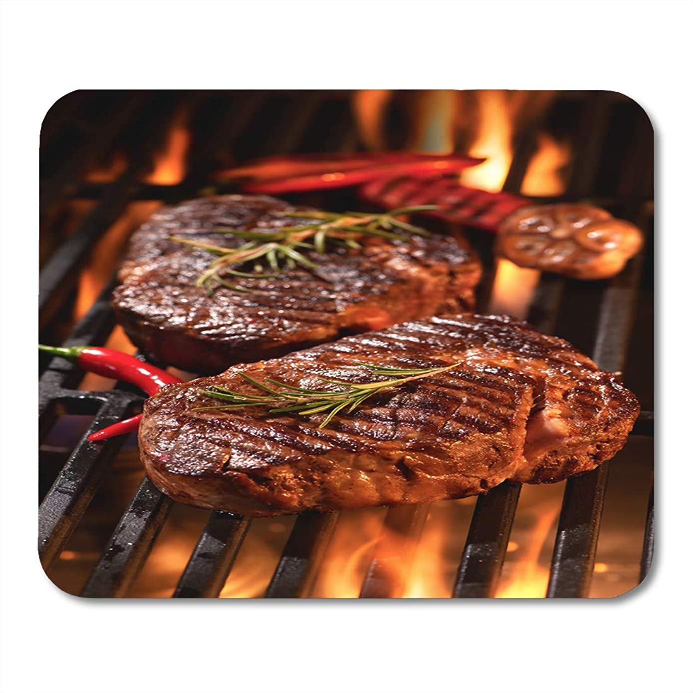 Semtomn Mouse Pad Red Meat Beef Steaks Grill Flames Barbecue BBQ Tenderloin Mousepad 9.8