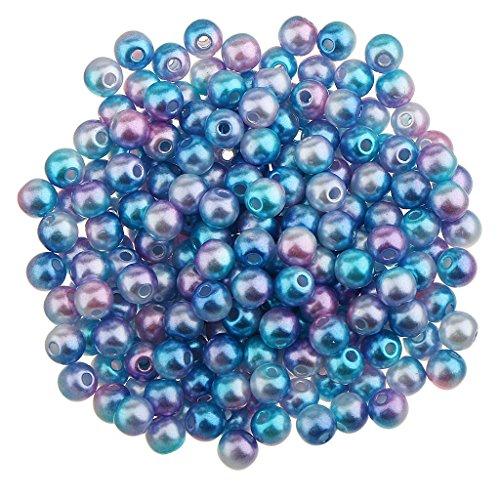 MagiDeal 100pcs Perles en Vrac Ronde Imitation en ABS Plastique 8mm pr Bijou DIY Bricolage - Couleur Foncée