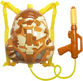 NAI B Milistar Water Gun Backpack for Kids and Toddlers. Super Soaker Squirt Gun, Water Blaster and Shooter Toy [Desert]