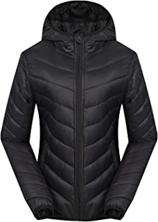 Women's Down Jacket Lightweight Outwear Hooded Packable Coat ESP05 Black