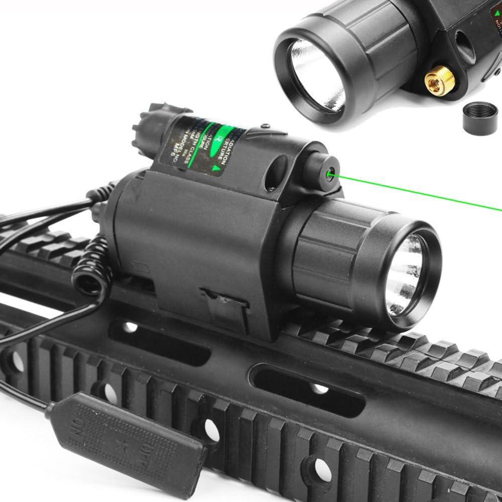 Higoo 2 in 1 Tactical Green Laser Dot Sight + 200 Lumen Flashlight Combo with 20mm