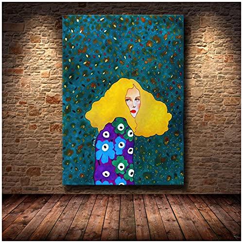 Xiangll Chica Pelo Flor Mujeres Vintage Abstracto Arte De La Pared Lienzo Pintura Moda Cartel Nórdico Cuadros De Pared Para Sala De Estar Impresión En Lienzo-40X60Cm Sin Marco