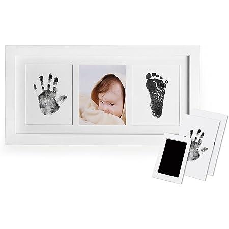 Tisi Gro/ßes Baby-Hand- und Fu/ßabdruck-Set mit Clean-Touch-Stempelkissen ungiftig /& schmutzfrei Baby Abdruck-Set Druckpapier /& Erstellen Baby Hand- /& Fu/ßabdr/ücke Familie Andenken schwarz
