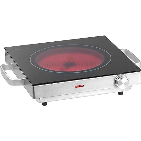 Cocina Vitrocerámica Portátil - 1 Placa Calorífica (Ø20cm), 2000W, 5 Niveles de Potencia, Función Mantener Caliente, Acero Inoxidable - Hornillo ...