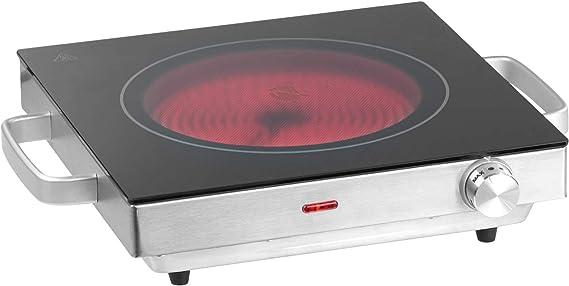 Infrarot Kochplatte Minikochplatte 2200 W,/Überhitzungsschutz aus Glaskeramik und Edelstahl Kochfeld Elektrisch Stufenlose Temperaturregulierung Herdplatte Einzelkochplatte