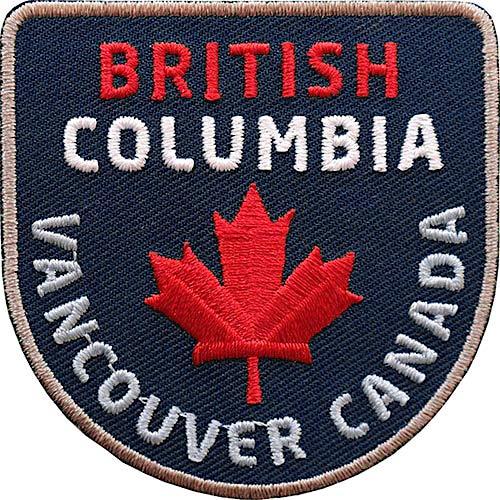 2 x Canada British Columbia Aufnäher gestickt 60 mm blau / Vancouver Kanada Nationalpark Ahorn Fahne Flagge Flagg Patch / Aufbügler Sticker Flicken Bügelbild Bügel-flicken Patches Reiseführer Karte