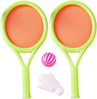 NUOBESTY 2 Set Children Sports Badminton Set Tennis Racket and Shuttlecocks Balls Outdoor Sports Playing Toy Set for Kids ...
