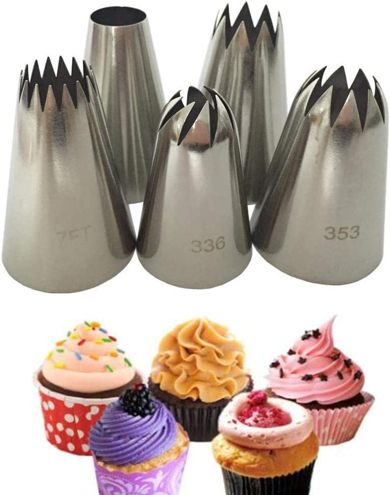 WFAANW 5 pcs Big Cream Icing Baking Sale item Stainles Sale price Cake Piping Nozzles