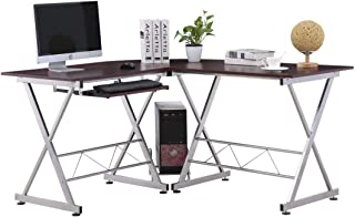 Mecor Wood L-Shaped Corner Computer Desk w/Keyboard Tray and Free CPU Stand-PC Laptop Table Workstation Home Office, Brown