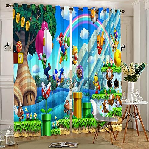 DONEECKL Cortinas opacas para ventana, diseño de Super Mario Bros0, para cortinas de ventana, 201 x 201 cm, con ojales en la parte superior