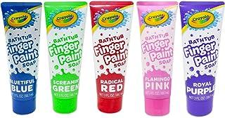 Crayola Bathtub Fingerpaint 5 Color Variety Pack, 3 Ounce Tubes (Bluetiful Blue, Screamin' Green, Radical Red, Flamingo Pi...