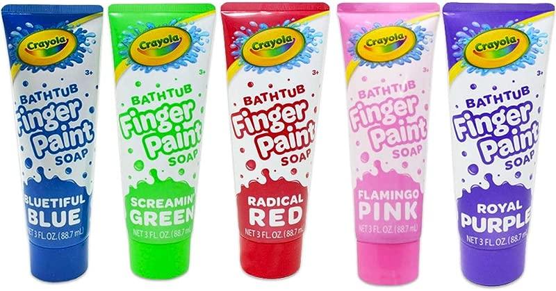 Crayola Bathtub Fingerpaint 5 Color Variety Pack 3 Ounce Tubes Bluetiful Blue Screamin Green Radical Red Flamingo Pink Royal Purple