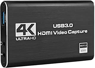 KuWFi 4K/30Hz Input 1080P Output HDMI Capture Card USB3.0 Driver-Free Game Broadcaster Microphone HD Video 1080P Recording...