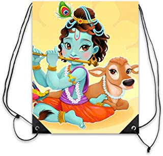 Drawsting Backpack For Gym and Fashion | Lightweight Waterproof Sports Bag For Men and Women - Krishna Cartoon