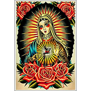 Faith Mary Tyler Bredeweg American Neo Traditional Tattoo Gun Art Poster Print