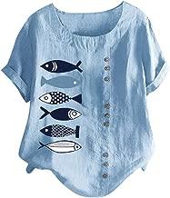 PEIZH Women Casual Shirt Plus Size O-Neck Printed Loose Button Tunic Shirt Blouse Tops