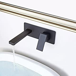 Jiuzhuo Contemporary Single Handle Wall Mounted Brass Bathroom Sink Faucet in Solid Black