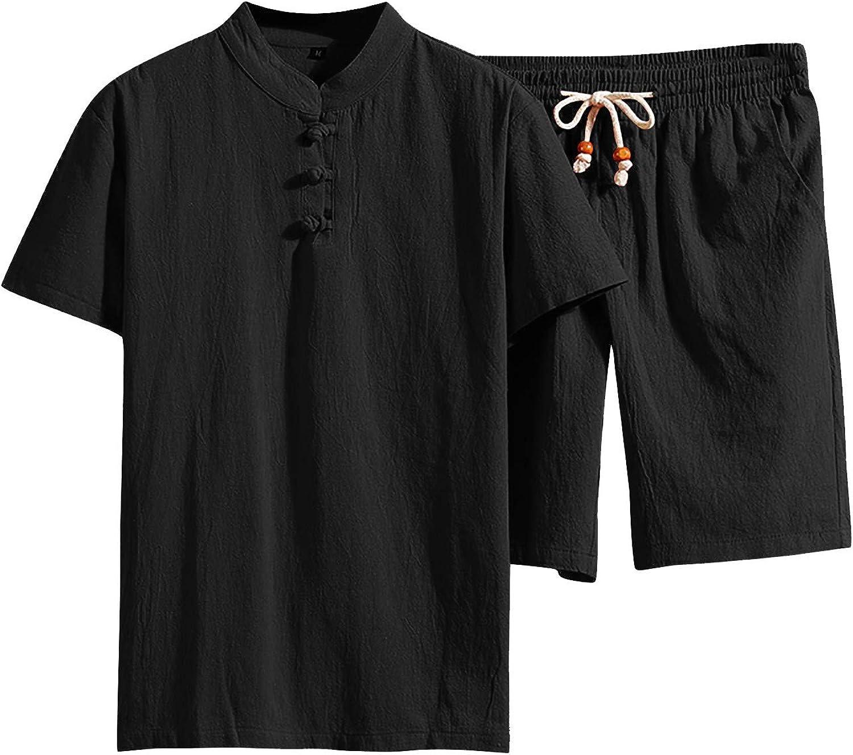 Tracksuits mens 2 piece shorts,Mens Cotton Linen Set Solid Color Short-Sleeved T-Shirt Large Size Casual Set