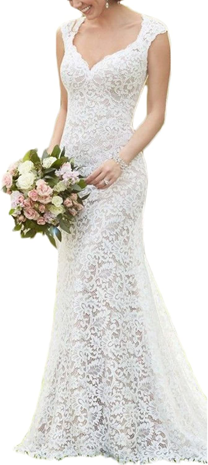 Alilith.Z Sexy Sweetheart Lace Wedding Dresses Bride Open Back Cap Sleeves Mermaid Long Bridal Gowns