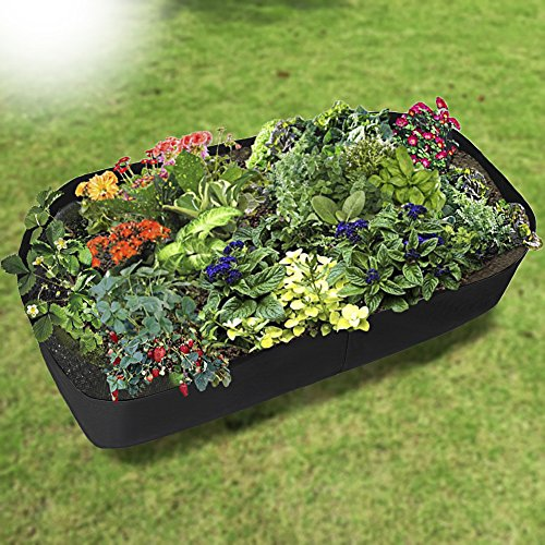 Jardinière surélevée lulalula en tissu - Récipient pour plantation - Pot rectangulaire pour plantes, fleurs et légumes 35.4\