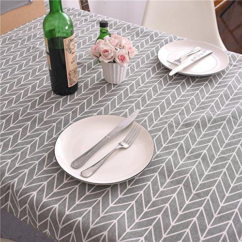 Creek Ywh tafelkleed van katoen en linnen, grijze overtrek, salontafel, tafelkleed, rond, 140 x 200 cm