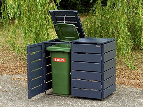 2er Mülltonnenbox / Mülltonnenverkleidung 120 L Holz, Deckend Geölt Anthrazit Grau