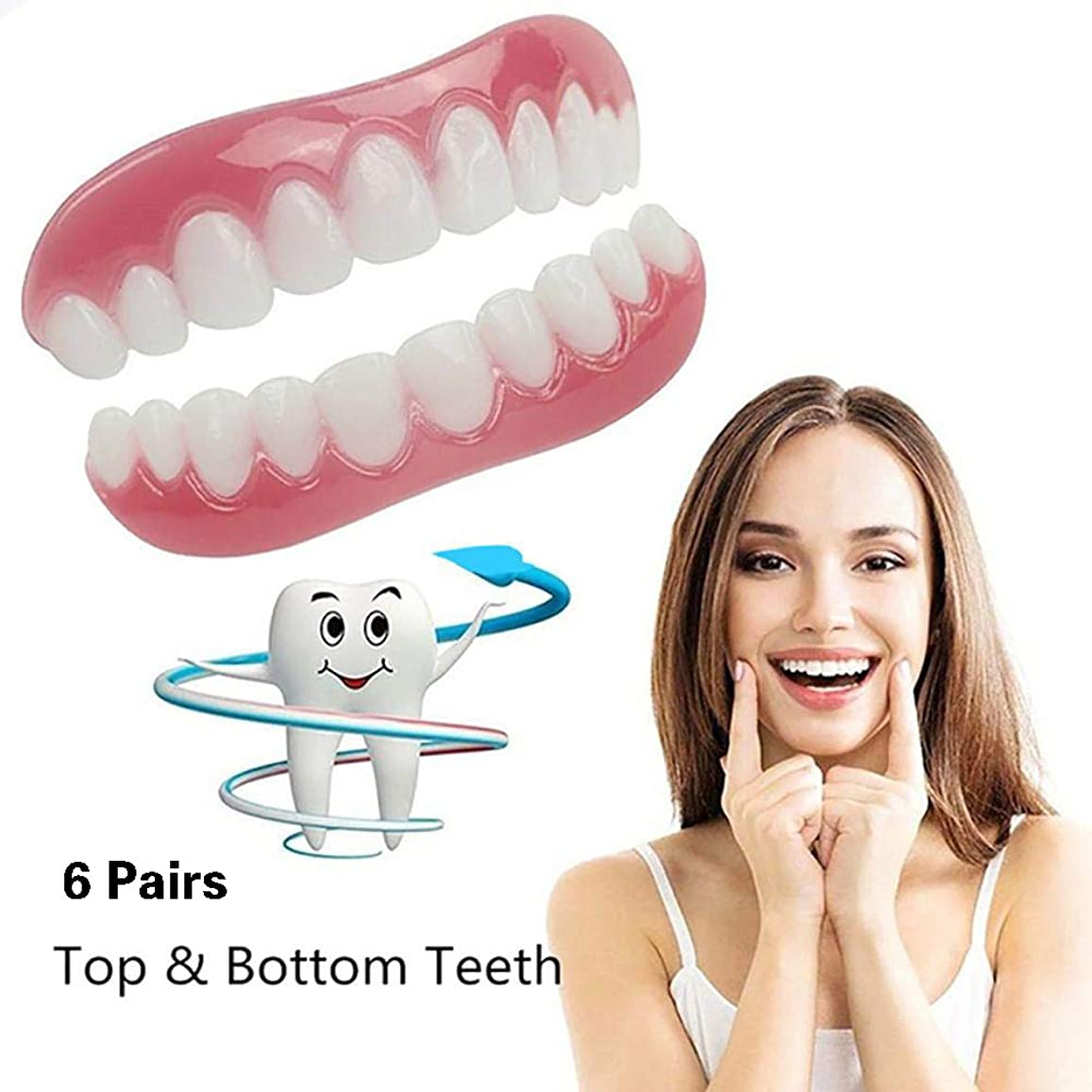 温度慎重人道的スナップの完全な微笑の歯の偽の歯カバーを白くするシリコーンの歯のベニヤは上部の1つのサイズのための化粧品の義歯の心配を合わせます