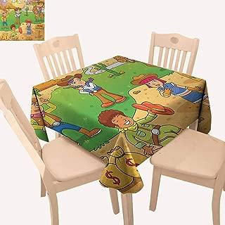 UHOO2018 Cartoon,Picnic Tablecloth Image of Child Cowboy Cute Wild West Cartoon North America Culture Kids Decor for Patio Garden Tabletop Decor Brown Green 52