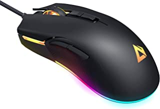 AUKEY RGB Gaming Mouse Wired with 6 Adjustable DPI Levels from 600 to 5000 [3325 Optical Sensor], 16.8 Million Color, Ergonomic PC Computer Mouse with Programmable Buttons, Braided Cable, Black