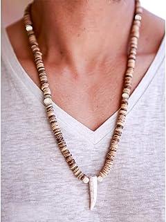 Fstrend الخرز قلادة جوز الهند شل القرن قلادة براون الطبيعية الخرز اليدوية قلادة المجوهرات للنساء والرجال (بني)