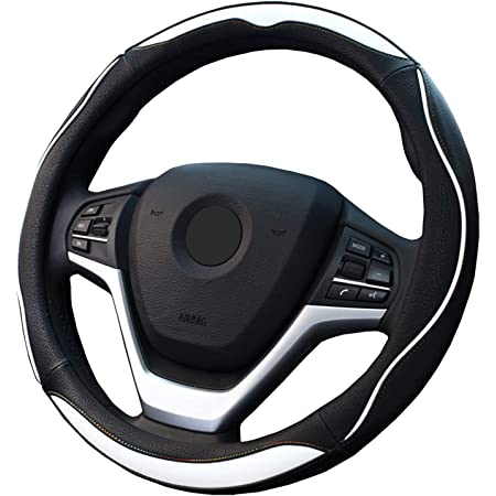 【Amazon限定ブランド】 ZATOOTO ハンドルカバー 軽自動車 sサイズ ステアリングカバー レインボーステッチ 握り感 オシャレ 124W