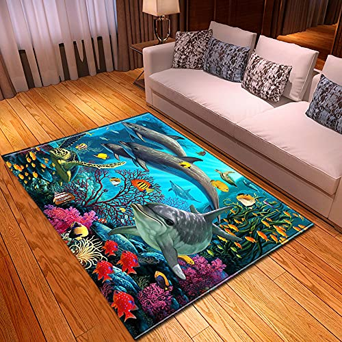XuJinzisa Alfombra De Impresión 3D Ocean Dolphin Suave Antideslizante para Habitación De Niños, Sala De Estar, Dormitorio, Decoración del Hogar, Alfombra 120X180Cm H9378