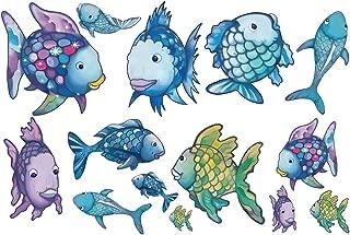 decalmile Rainbow Fish Wall Stickers Ocean Wall Decals Removable Vinyl Wall Decor Murals for Bathroom Nursery Kids Room
