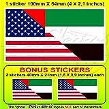 USA United States of America und UAE Dubai, Abu Dhabi, Amerikanische Vereinigte Arabische Emirate Flagge, 10,2 cm (4 Zoll), Vinyl Stoßstanexaktfkleber, Aufkleber x1 + 2 Bonus
