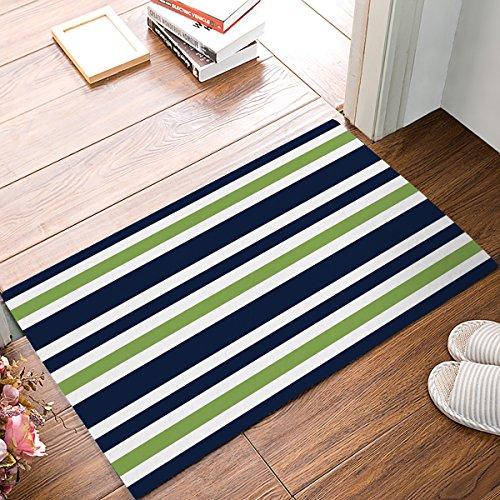 EZON-CH Non Slip Navy Blue, Lime Green and White Stripe Home Bathroom Bath Shower Bedroom Mat Toilet Floor Door Mat Rug Carpet Pad Doormat,20x31.5