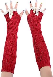 XueXian Women's Girls Fingerless Cold Weather Knitted Lace Golves Long Arm Warmer