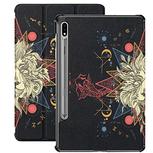 Lion Carps Tattoo Art Mystical Geometric Cover for Samsung Galaxy S7 for Samsung Galaxy Tab S7/s7 Plus Case for Tablet Stand Back Cover Galaxy Tab E Case for Galaxy Tab S7 11 Inch S7 Plus 12.4 Inch