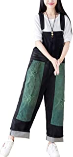 Flygo Women's Colorful Loose Baggy Denim Suspenders Overalls Rompers Jumpsuits