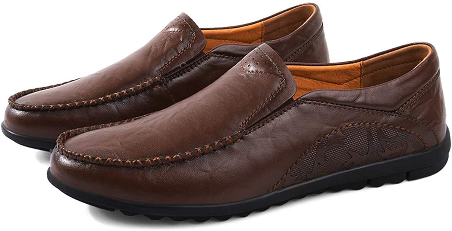 Men Driving Loafers Casual Simple Retro Ox Leather Comfortable Boat Moccasins(Hollow Optional)